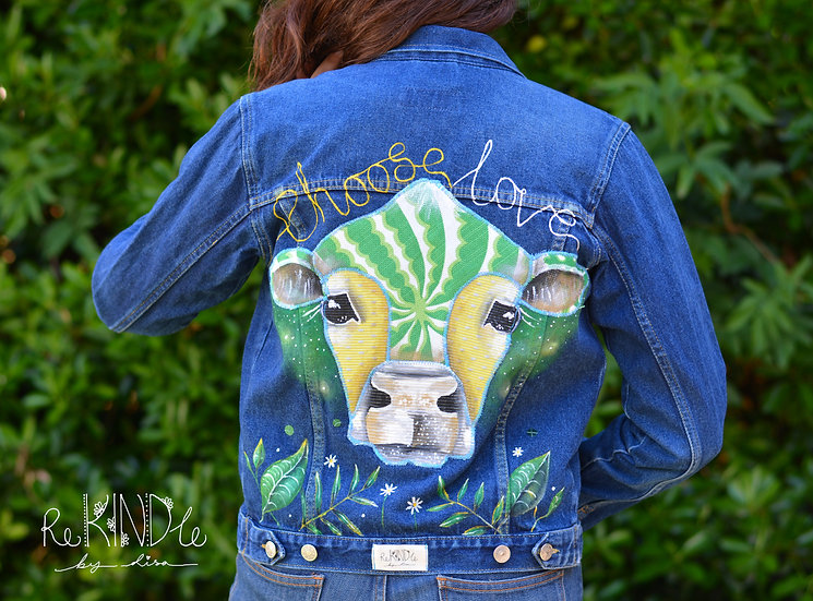 Hand painted, embellished Size UK 8 Vegan Jacket