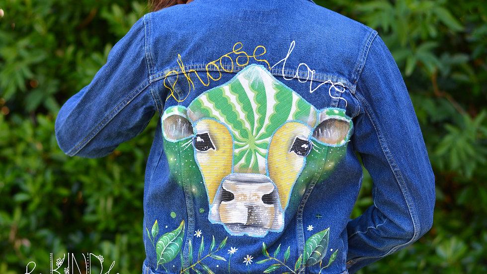 Hand painted, embellished Size UK 8 Vegan Jacket