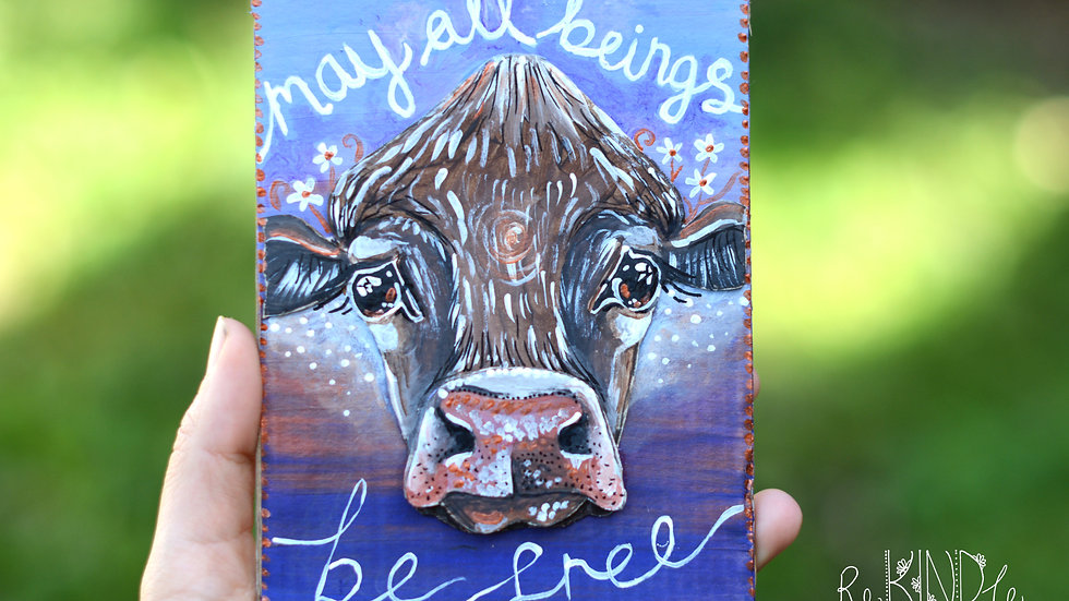 'May all beings be free' Vegan 3D Upcycled Wall Art