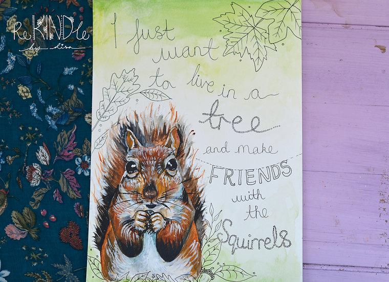 Original Squirrel Watercolour