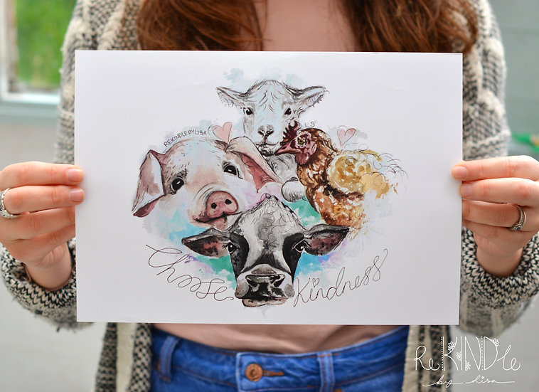 A4 Recycled Art Print 'Choose Kindness'