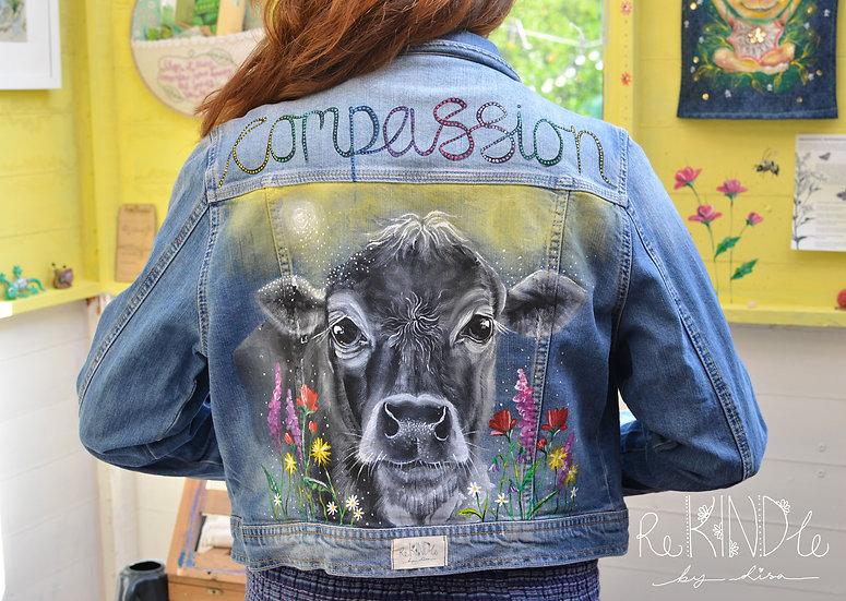 Size UK 16 Hand Painted, Upcycled, Vegan Denim Jacket Cow