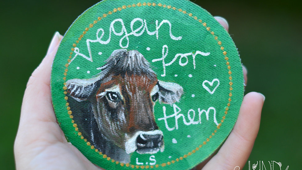Hand Painted Cow Circle Sew On Patch