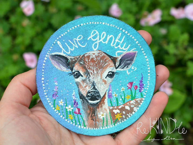 Hand Painted Vegan Deer Sew On Patch 'Live Gently'