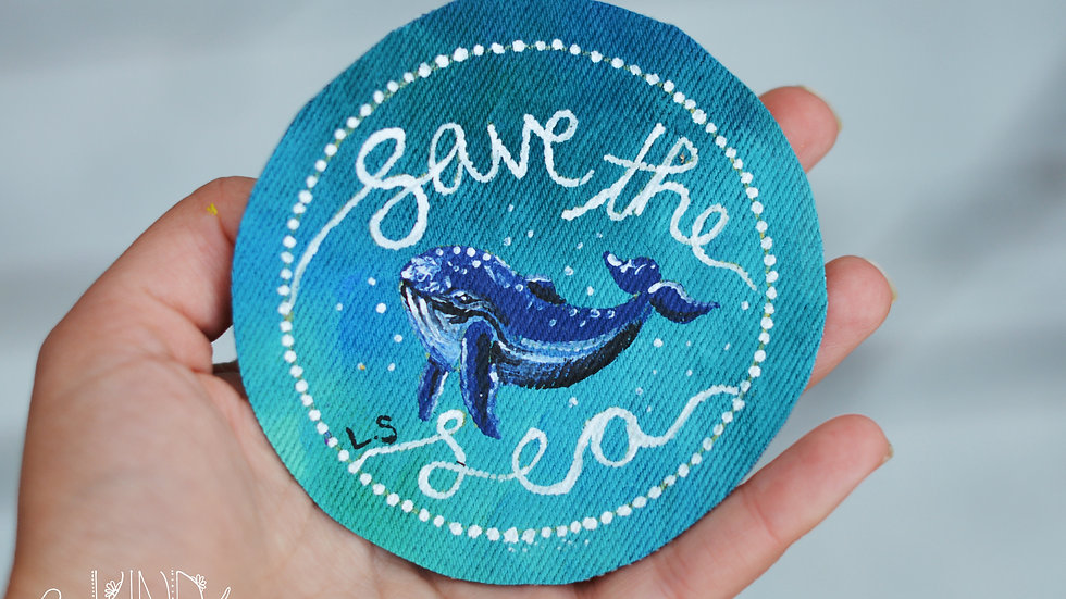 Hand Painted Blue Whale Circle Sew On Patch