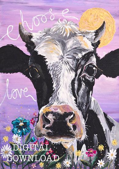 PRINTABLE  'Sylvia' Cow Vegan Art (Digital Download)