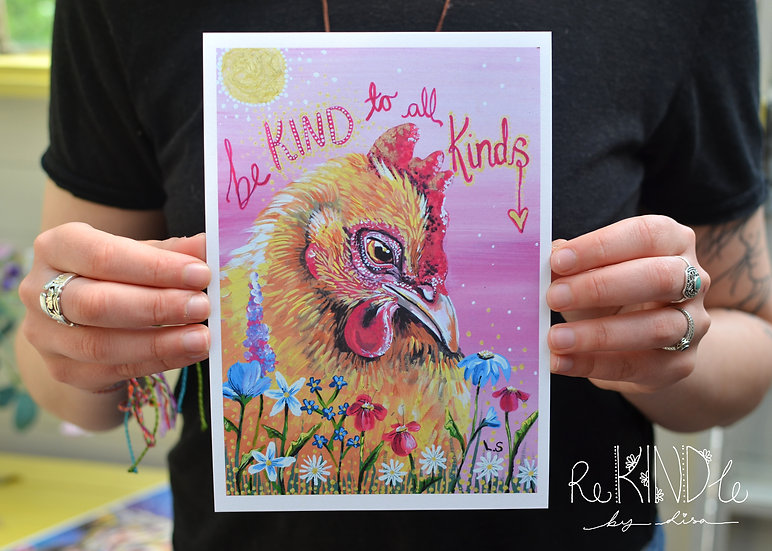 A5 Vegan, Recycled, Eco Friendly Print (Chicken)