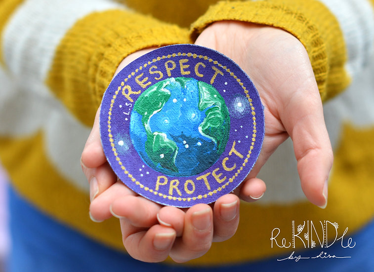 Hand Painted 'Respect. Protect' Sew On Patch