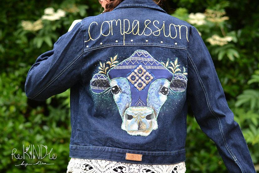 Size UK 12 Upcycled ,Vegan, Hand Painted Jacket