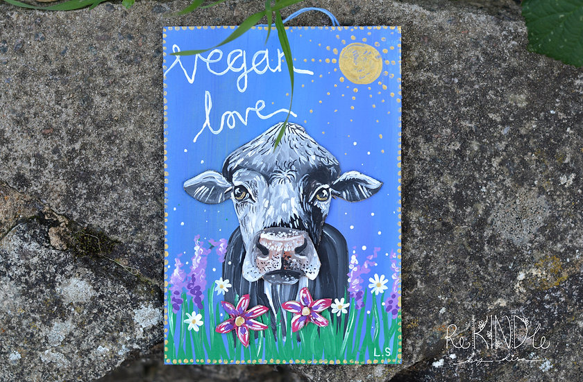Hand painted, Original, Upcycled 3D Cow Wall Art