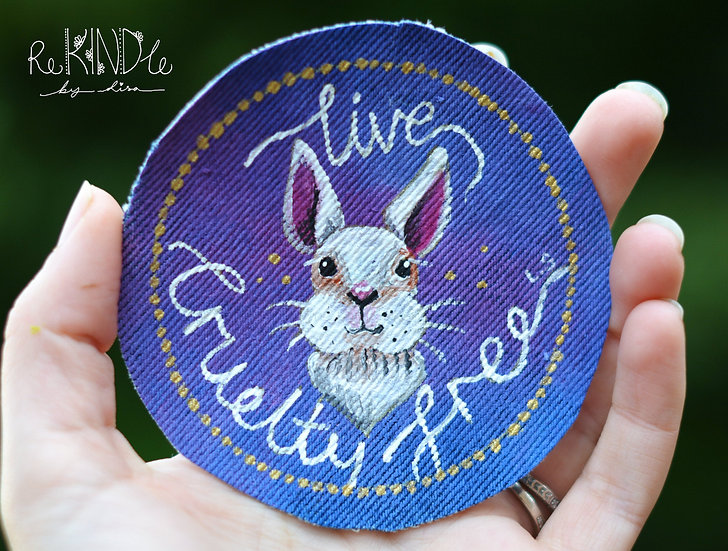 Hand Painted Rabbit Circle Sew On Patch