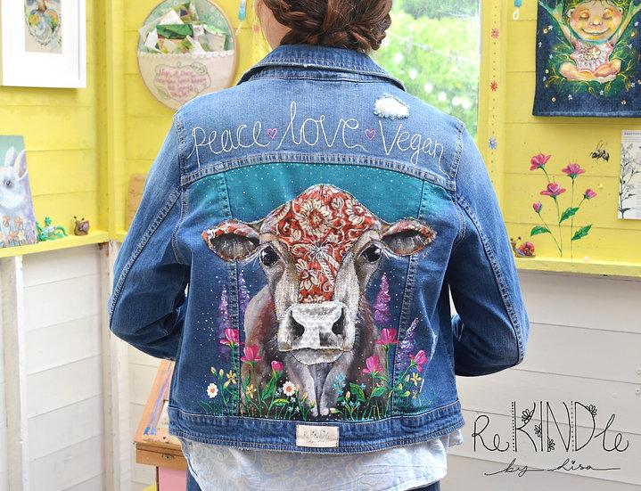 Size UK 12/ 14 Hand Painted, Upcycled, Vegan Denim Jacket Cow