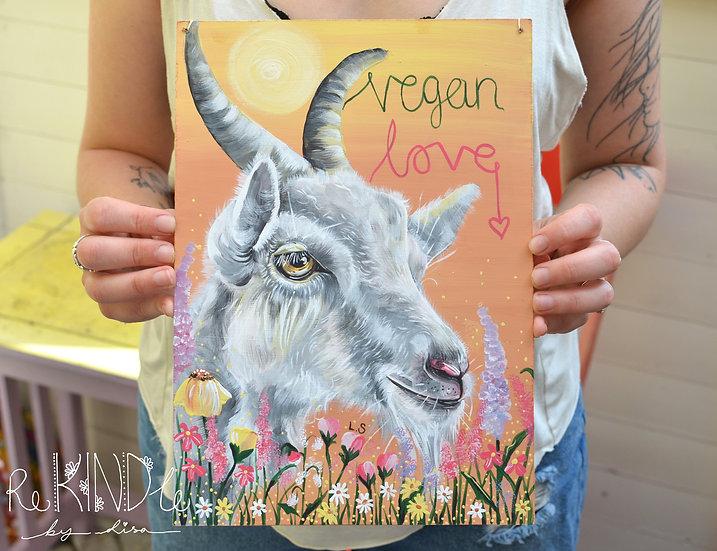 A4 Original Vegan Painting on Upcycled Hardboard 'Vegan Love' Goat