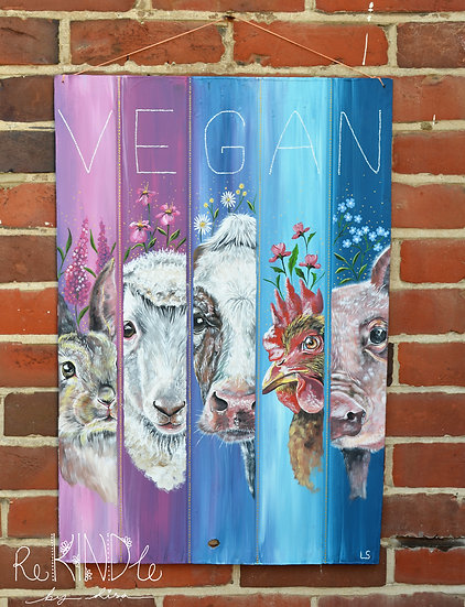 'We See You' Original Vegan Eco Friendly Painting on Up-cycled Wood