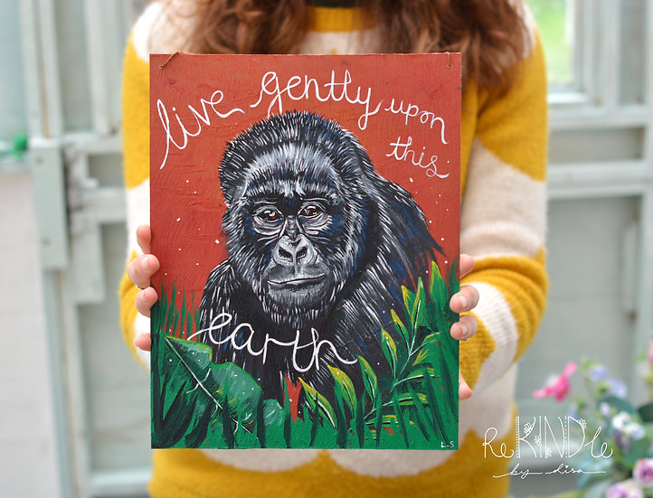 Original Acrylic on Upcycled Hard Board 'Gorilla'