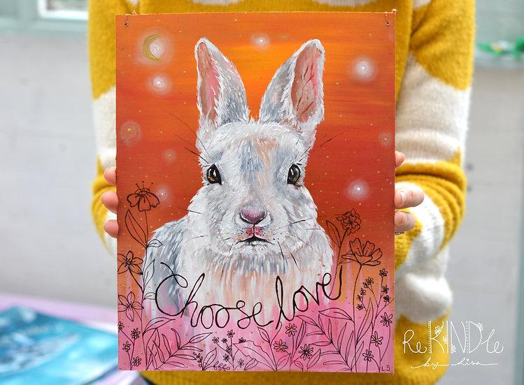 Recycled Hardboard Original Painting Bunny