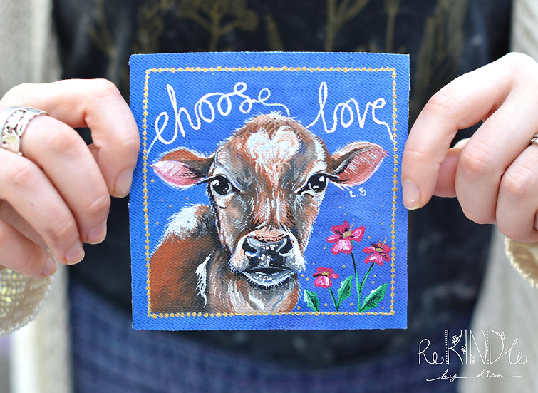 Hand Painted Cow Sew On Patch Square