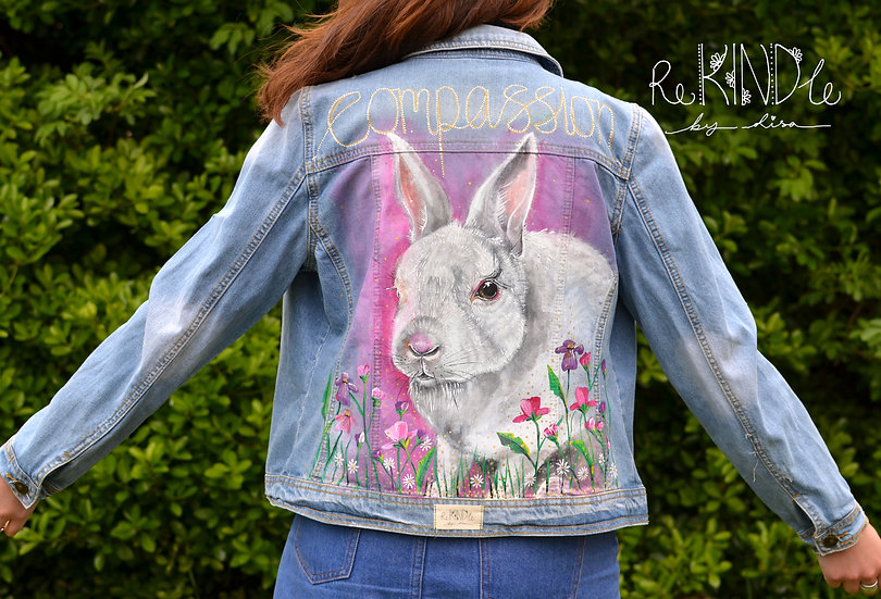 Size UK 14 Hand Painted, Upcycled, Vegan Denim Jacket Rabbit