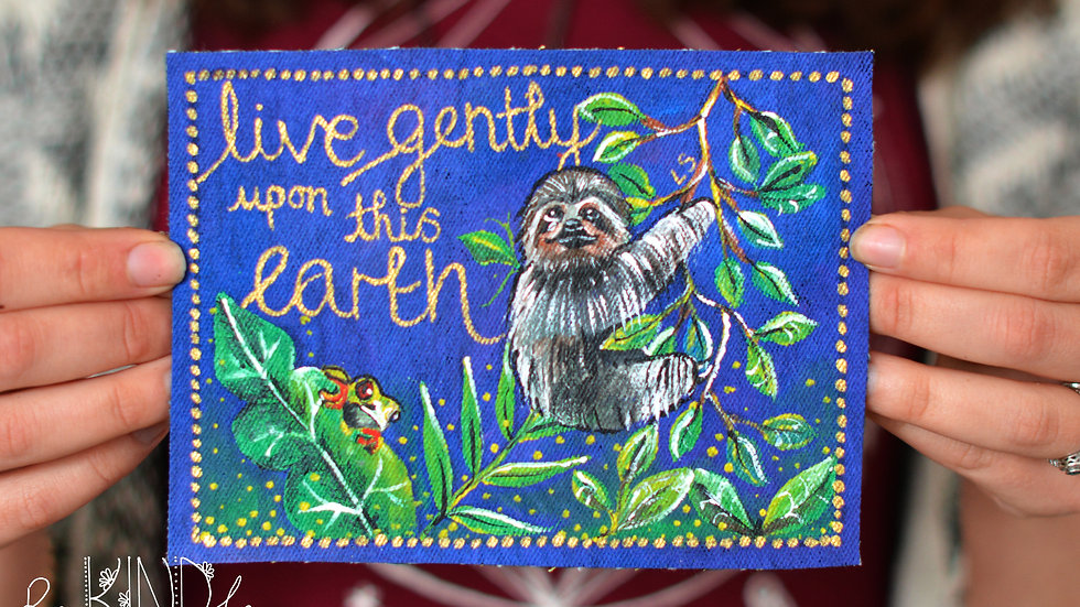 Painted Rainforest 'Live Gently' Sew on Patch