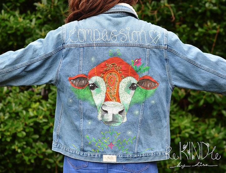 UK 18 Upcycled ,Vegan, Hand Painted Jacket