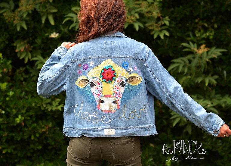 Hand painted, embellished Size UK 18 Vegan Jacket