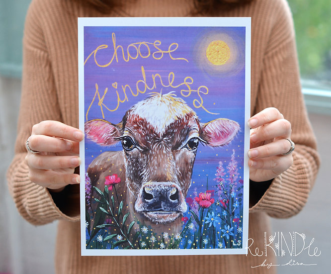 A4/ A5 Vegan Eco friendly Cow Print on Recycled Card