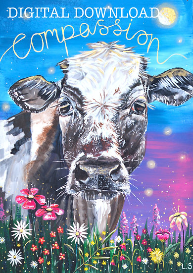 PRINTABLE  Brown and white Cow 'Compassion' Art (Digital Download)