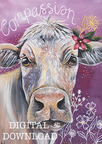 PRINTABLE  White Cow 'Compassion' Art (Digital Download)