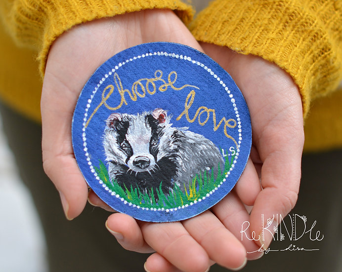 Hand Painted Vegan Sew on Patch Badger