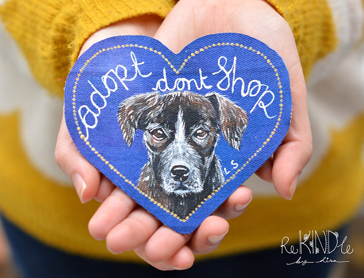 Hand Painted Sew on Patch Adopt Don't Shop