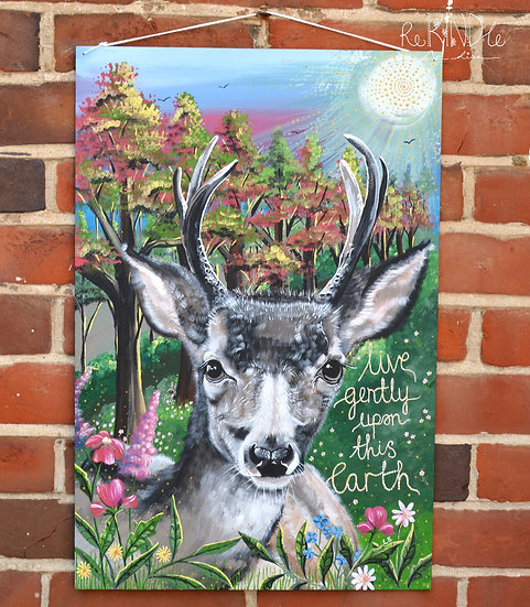 Large Original Vegan, Eco Friendly Deer, Woodland Painting