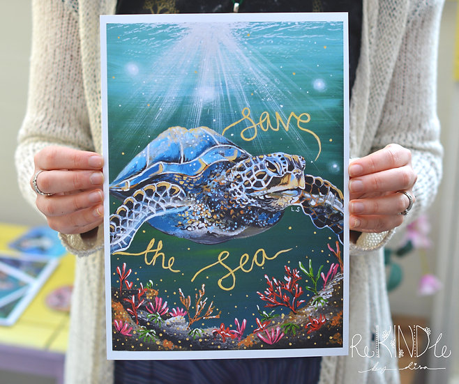 A5/ A4 Eco Friendly, Recycled 300gsm Card Print Turtle