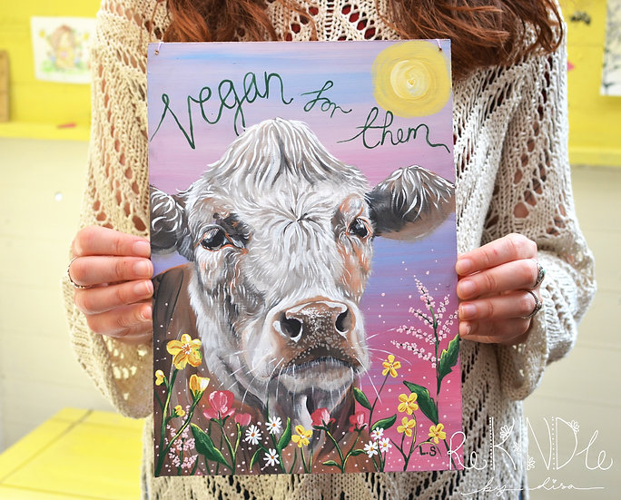 A4 Original Vegan Painting on Recycled Hardboard 'Vegan For Them'
