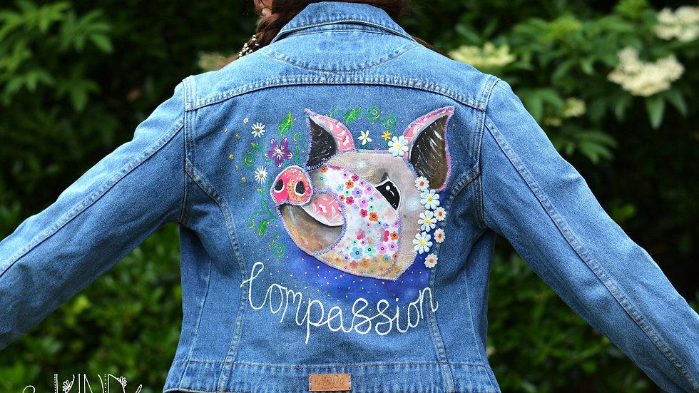 SIZE UK 8 Vegan Upcycled Embellished Jacket Pig