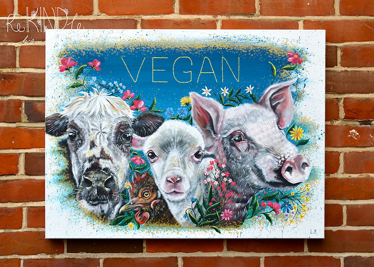 'Break Through and Break Free' Large Original Vegan Artwork on Box Canvas