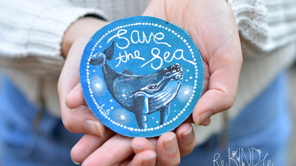 Hand Painted 'Save the Sea' Circle Patch