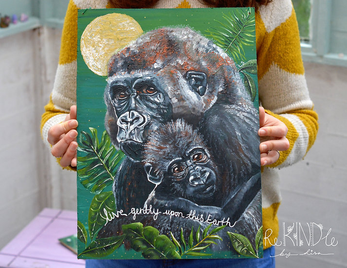 Recycled Hardboard Gorillas 'Live Gently' Painting
