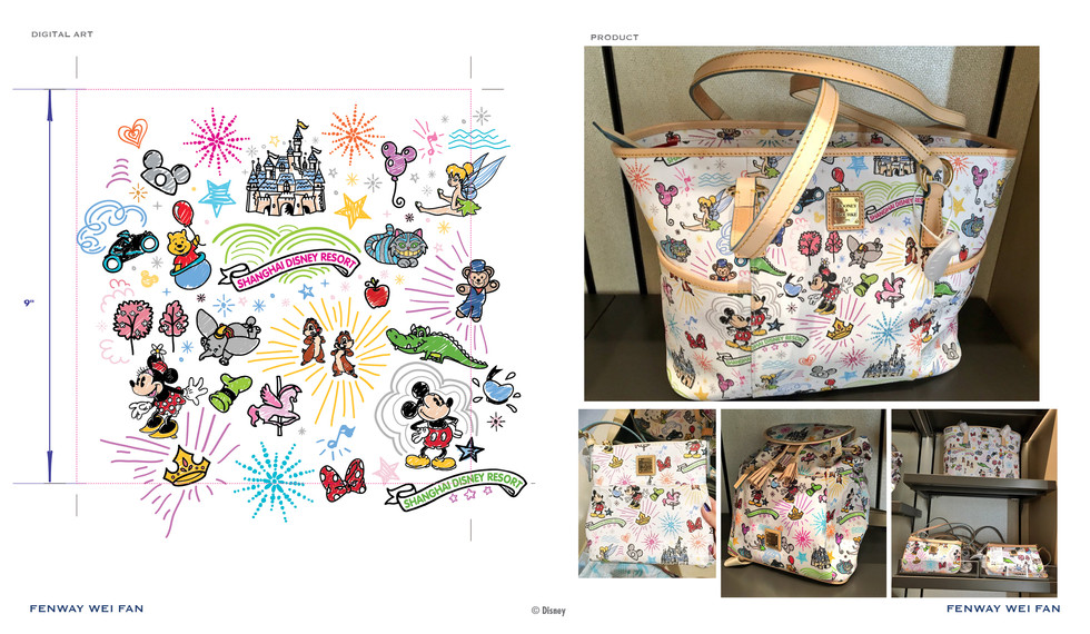 Shanghai Disney Resort Map x Dooney & Bourke ©Disney
