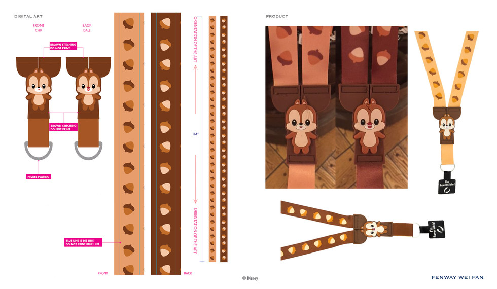 Chip  & Dale PVC Buddies Lanyard ©Disney