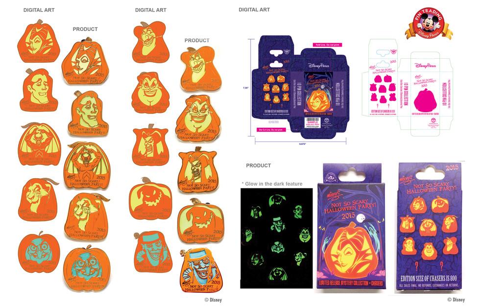Glow in the Dark MNSSHP 2015 Pumpkin Mystery Pin Set ©Disney