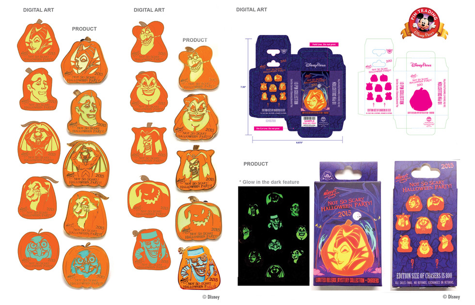 Glow in the Dark MNSSHP 2015 Pumpkin Mystery Pin Set ©Disney