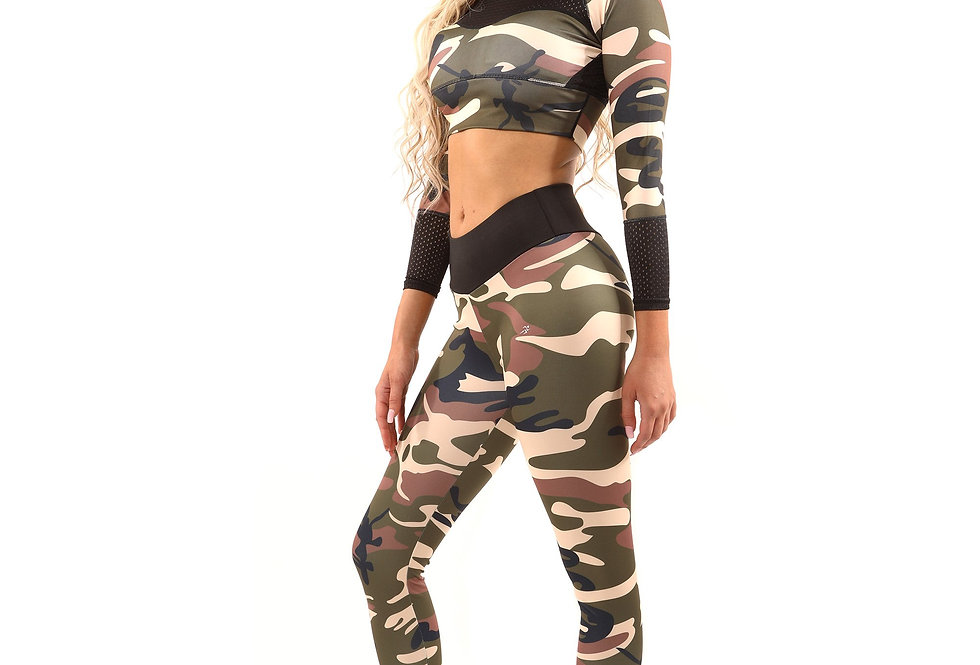 Revanel Virginia Camouflage Set - Leggings & Sports Bra - Brown/Green