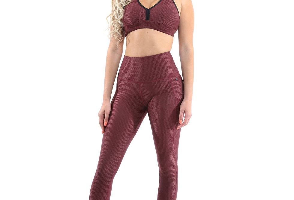 Revanel  Verona Activewear Set - Leggings & Sports Bra - Maroon, Size Small