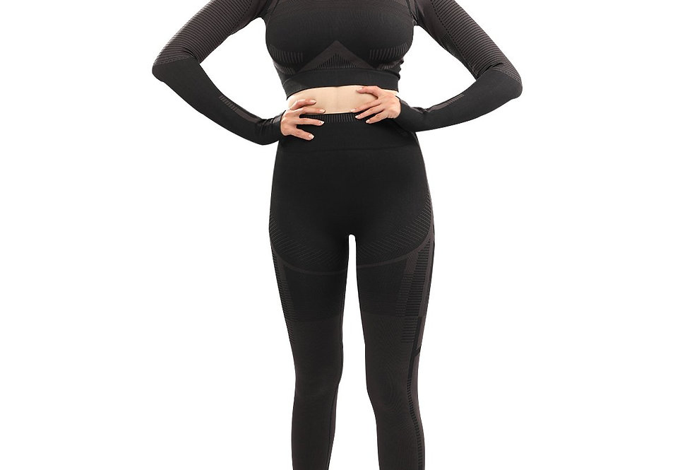 Revanel Decata Seamless Leggings & Sports Top Set - Black & Brown