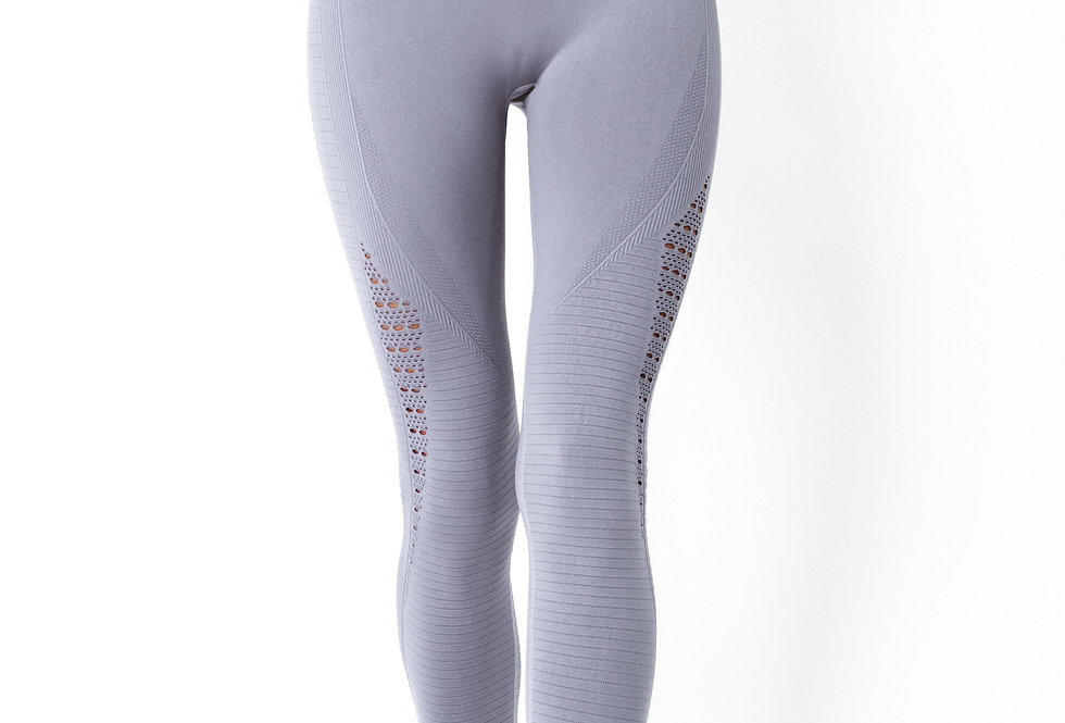 Revanel Mesh Seamless Legging With Ribbing Detail - Grey Purple