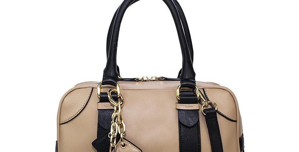 Carlotta Leather Handbag- Tan / Midnight Black