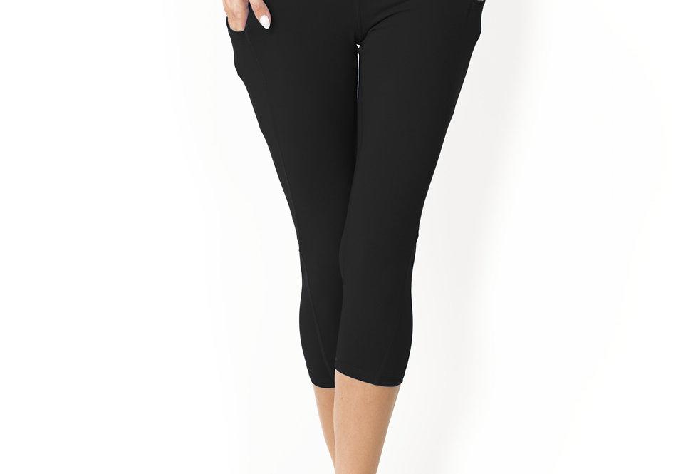 Revanel High Waisted Yoga Capri Leggings - Black