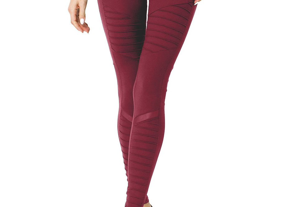 Revanel Athletique  Ribbed Leggings & Hidden Pocket and Mesh Panels - Red