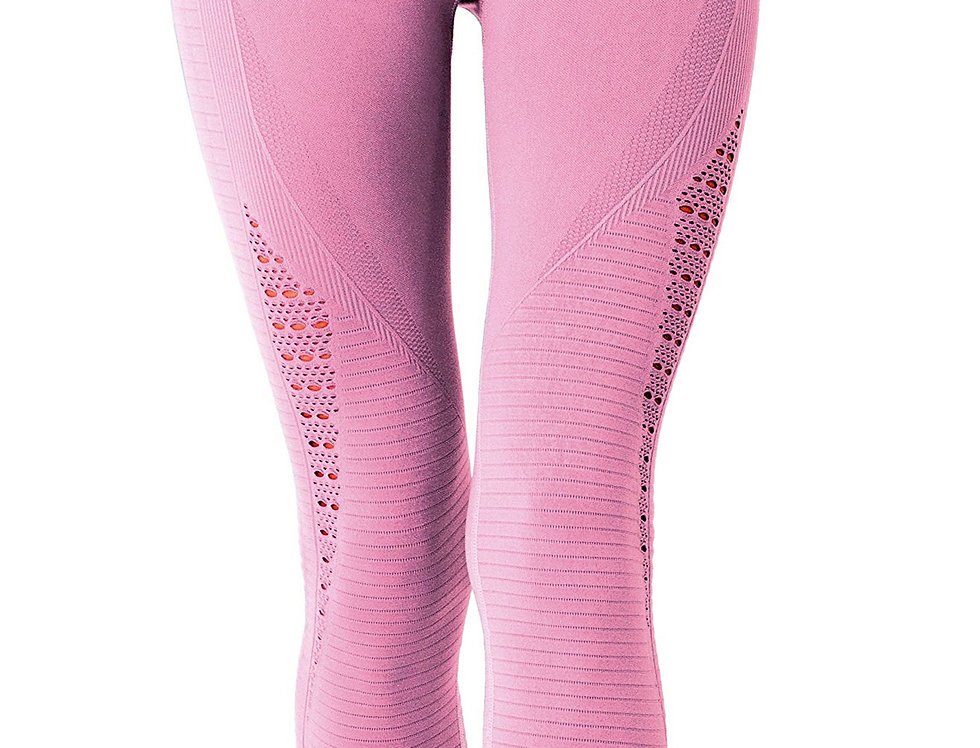 Revanel Mesh Seamless Legging With Ribbing Detail - Pink