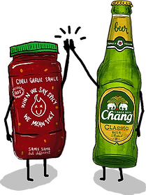 illustration of chili sauce and beer high fiving